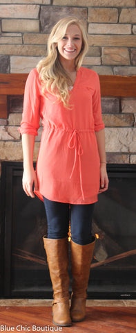 Cambria 3/4 Sleeve Tunic - Tango - Blue Chic Boutique  - 7