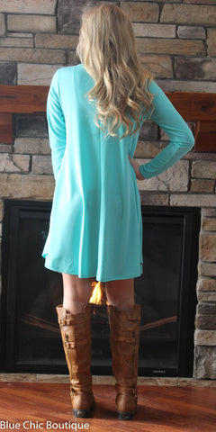 Solid Mint Trapeze Dress - Blue Chic Boutique  - 3