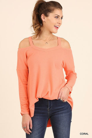 Evening Out Cold Shoulder Top - Coral - Blue Chic Boutique  - 1