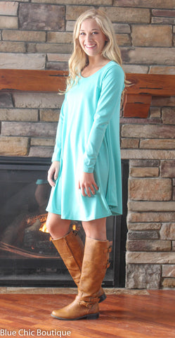 Solid Mint Trapeze Dress - Blue Chic Boutique  - 2