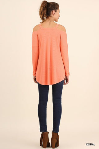Evening Out Cold Shoulder Top - Coral - Blue Chic Boutique  - 2