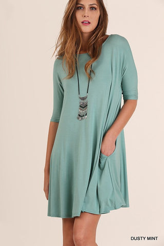 3/4 Sleeved Trapeze Dress - Dusty Mint - Blue Chic Boutique  - 1