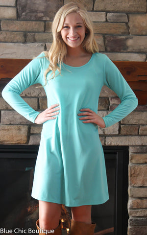 Solid Mint Trapeze Dress - Blue Chic Boutique  - 1