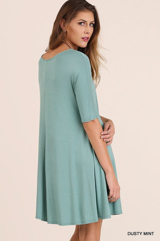 3/4 Sleeved Trapeze Dress - Dusty Mint - Blue Chic Boutique  - 2