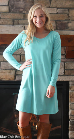 Solid Mint Trapeze Dress - Blue Chic Boutique  - 4