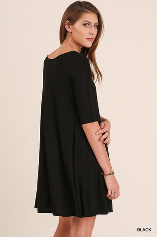 3/4 Sleeved Trapeze Dress - Black - Blue Chic Boutique  - 2