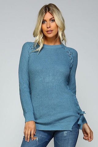 Lace Up Side Sweater - Blue - Blue Chic Boutique  - 1