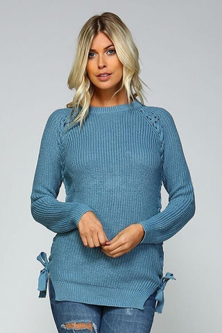 Lace Up Side Sweater - Blue - Blue Chic Boutique  - 3
