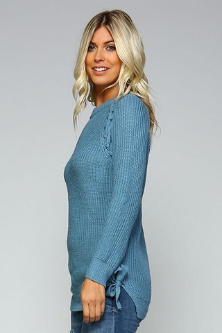 Lace Up Side Sweater - Blue - Blue Chic Boutique  - 2