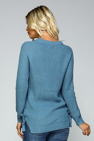 Lace Up Side Sweater - Blue - Blue Chic Boutique  - 4