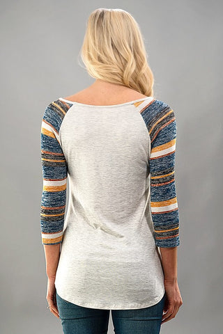 Striped Sleeves Baseball Tee - Brown - Blue Chic Boutique  - 2
