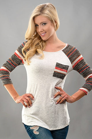 Striped Sleeves Baseball Tee - Brown - Blue Chic Boutique  - 1
