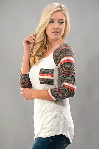 Striped Sleeves Baseball Tee - Brown - Blue Chic Boutique  - 3