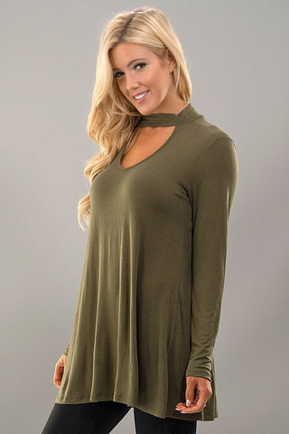 Flowy Mock Neck Top - Olive