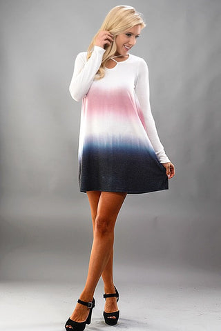 Criss Cross Ombre Swing Dress
