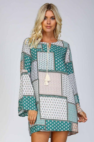 Patchwork Print Shift Dress - Green - Blue Chic Boutique  - 1
