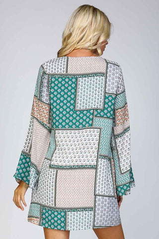 Patchwork Print Shift Dress - Green - Blue Chic Boutique  - 2