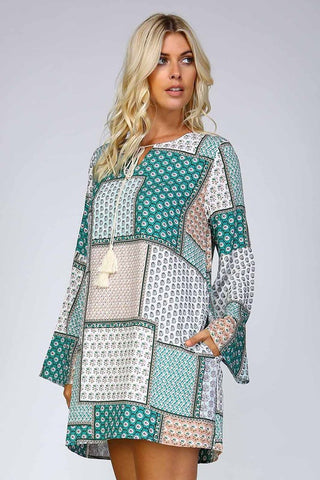 Patchwork Print Shift Dress - Green - Blue Chic Boutique  - 3