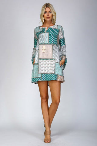 Patchwork Print Shift Dress - Green - Blue Chic Boutique  - 4