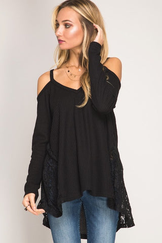 Draped in Lace Top - Black - Blue Chic Boutique  - 1