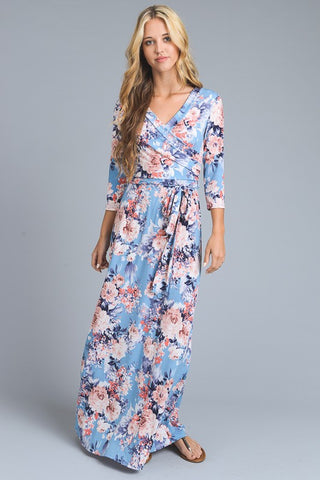 Floral 3/4 Sleeve Maxi Dress - Light Blue