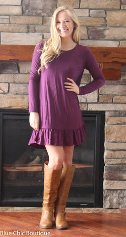 Ruffle Dress - Purple - Blue Chic Boutique  - 1