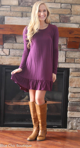 Ruffle Dress - Purple - Blue Chic Boutique  - 2