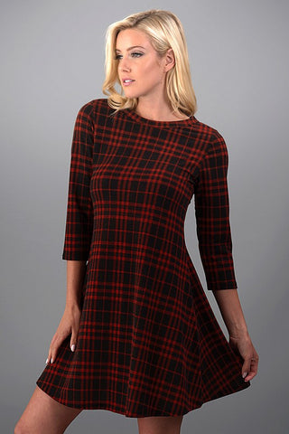 Perfect Plaid Dress - Rust - Blue Chic Boutique  - 1