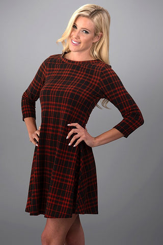 Perfect Plaid Dress - Rust - Blue Chic Boutique  - 2