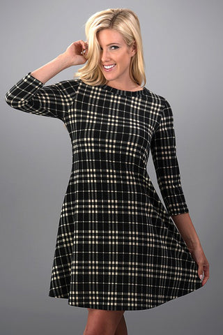 Perfect Plaid Dress - Black - Blue Chic Boutique  - 2