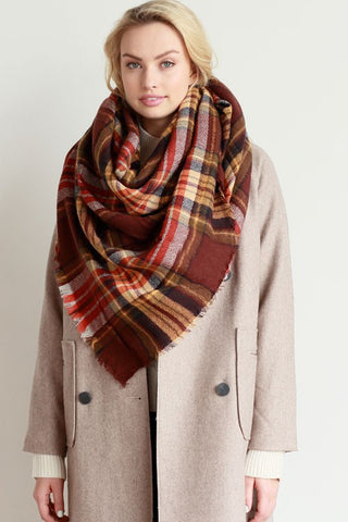 Plaid Scarf - Red and Brown - Blue Chic Boutique  - 1