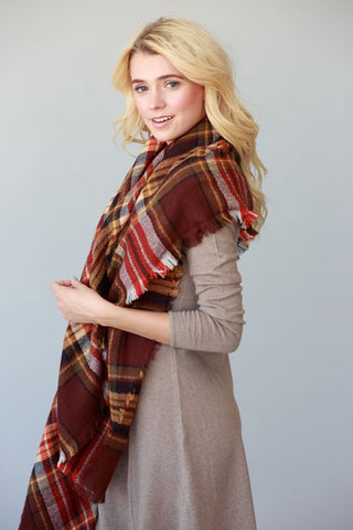 Plaid Scarf - Red and Brown - Blue Chic Boutique  - 2