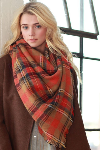 Plaid Scarf - Orange and Brown - Blue Chic Boutique