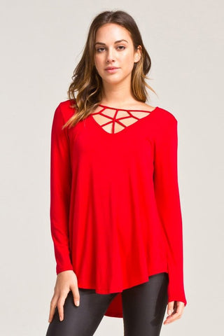 Cross My Heart Top - Red - Blue Chic Boutique