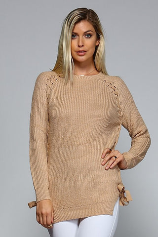 Lace Up Side Sweater - Beige - Blue Chic Boutique  - 2