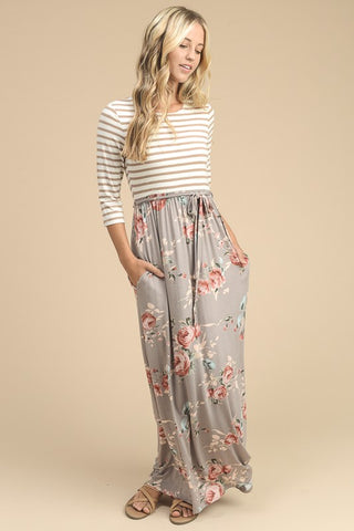 Stripes and Floral Maxi Dress - Mocha