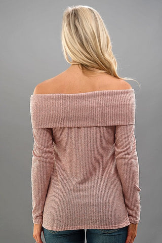 Sweater Knit Off Shoulder Top - Pink - Blue Chic Boutique  - 4