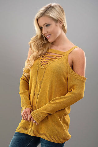 Saturday Shenanigans Sweater - Mustard - Blue Chic Boutique  - 2