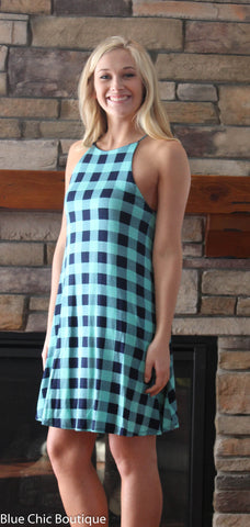 Halter Dress - Mint and Navy Plaid - Blue Chic Boutique  - 2