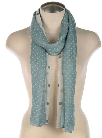Light Blue Scarf with White Polka Dots - Blue Chic Boutique