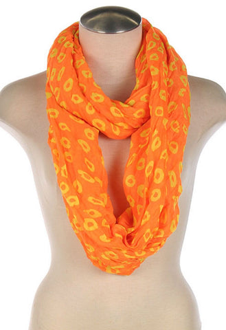 Orange Circle Print Infinity Scarf - Blue Chic Boutique