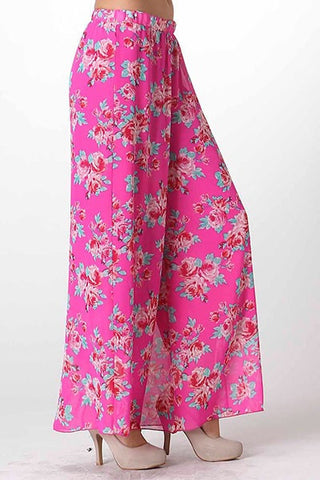 Boho Floral Palazzo Pants - Dark Pink - Blue Chic Boutique  - 1