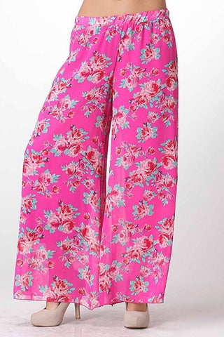 Boho Floral Palazzo Pants - Dark Pink - Blue Chic Boutique  - 2