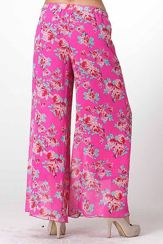 Boho Floral Palazzo Pants - Dark Pink - Blue Chic Boutique  - 3
