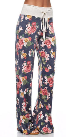 Casual Floral Pants - Navy - Blue Chic Boutique  - 1