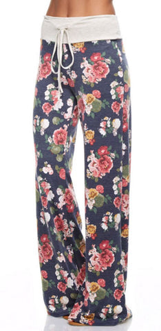 Casual Floral Pants - Navy - Blue Chic Boutique  - 2