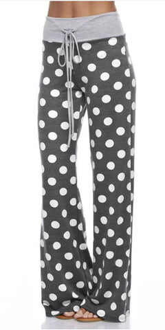 Casual Polka Dot Pants - Charcoal - Blue Chic Boutique  - 1