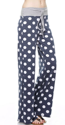 Casual Polka Dot Pants - Charcoal - Blue Chic Boutique  - 3
