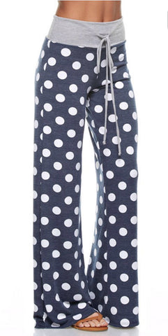 Casual Polka Dot Pants - Navy - Blue Chic Boutique  - 1