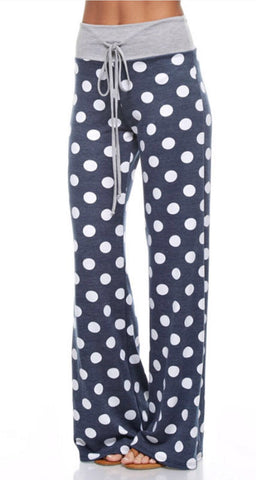 Casual Polka Dot Pants - Navy - Blue Chic Boutique  - 2